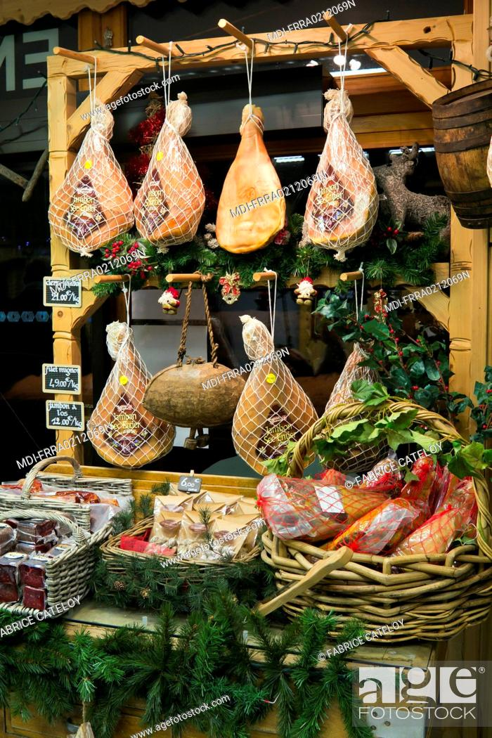Stock Photo: France - Rhone-Alpes - Haute-Savoie - Montriond - Salted ham in a shop.