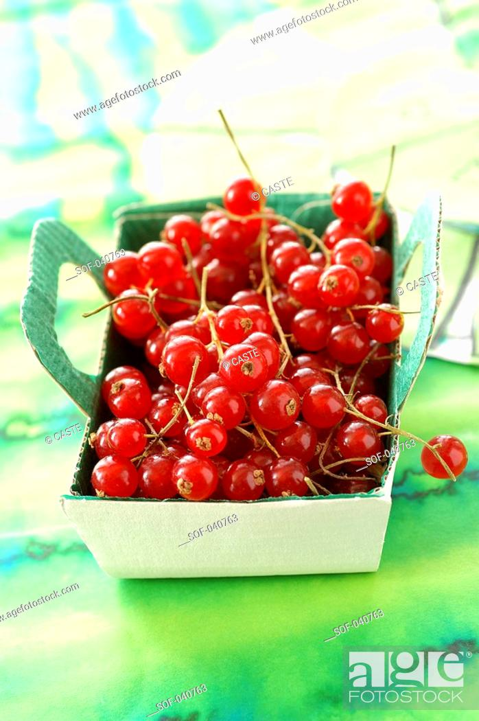 Stock Photo: punnet of redcurrants.