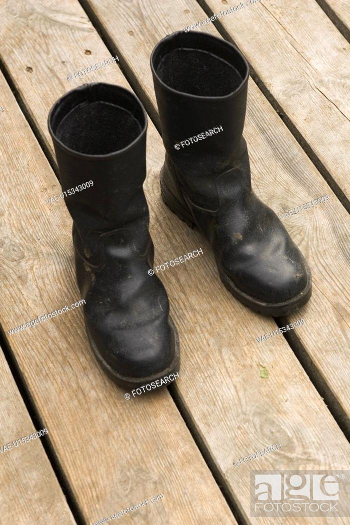 Stock Photo: Boots, Floor, Leather.