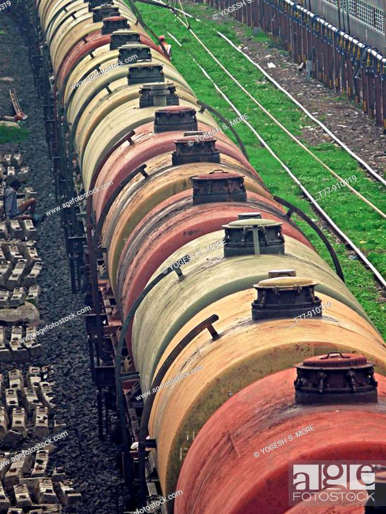 Stock Photo: Fright car is passing on railway track, Bhopal, Madhyapradesh, India.