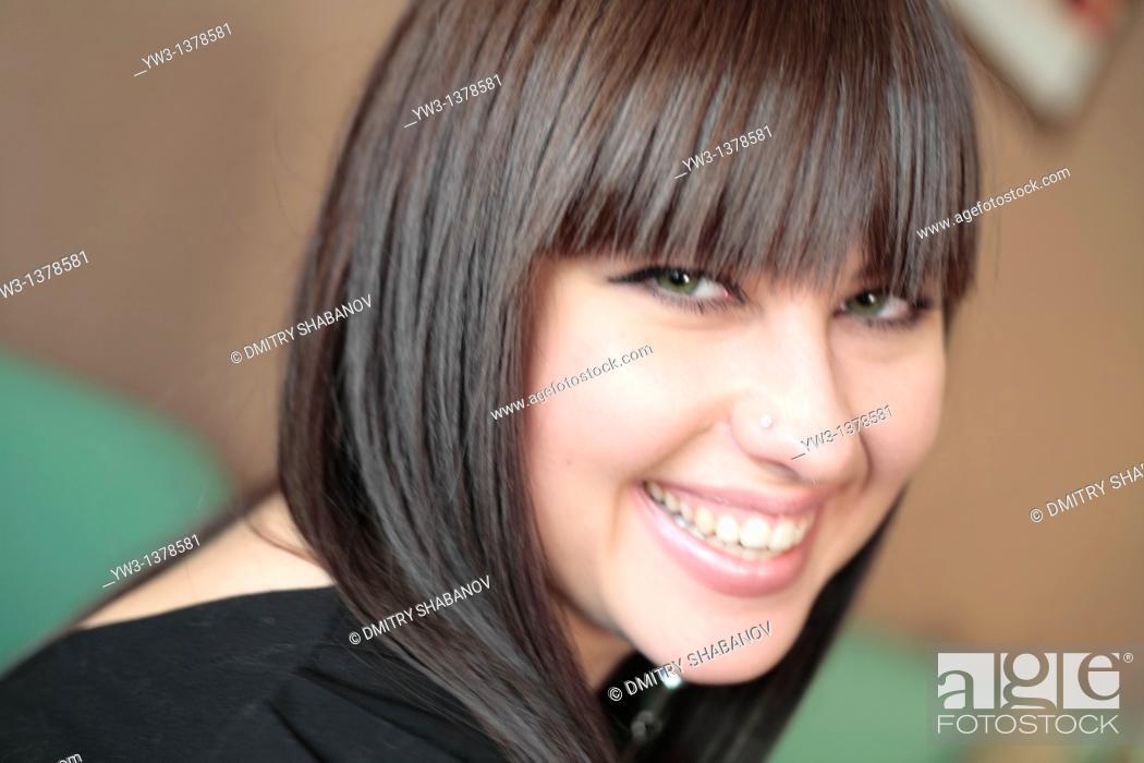 Stock Photo: Shot of beautiful teen girl with big eyes.