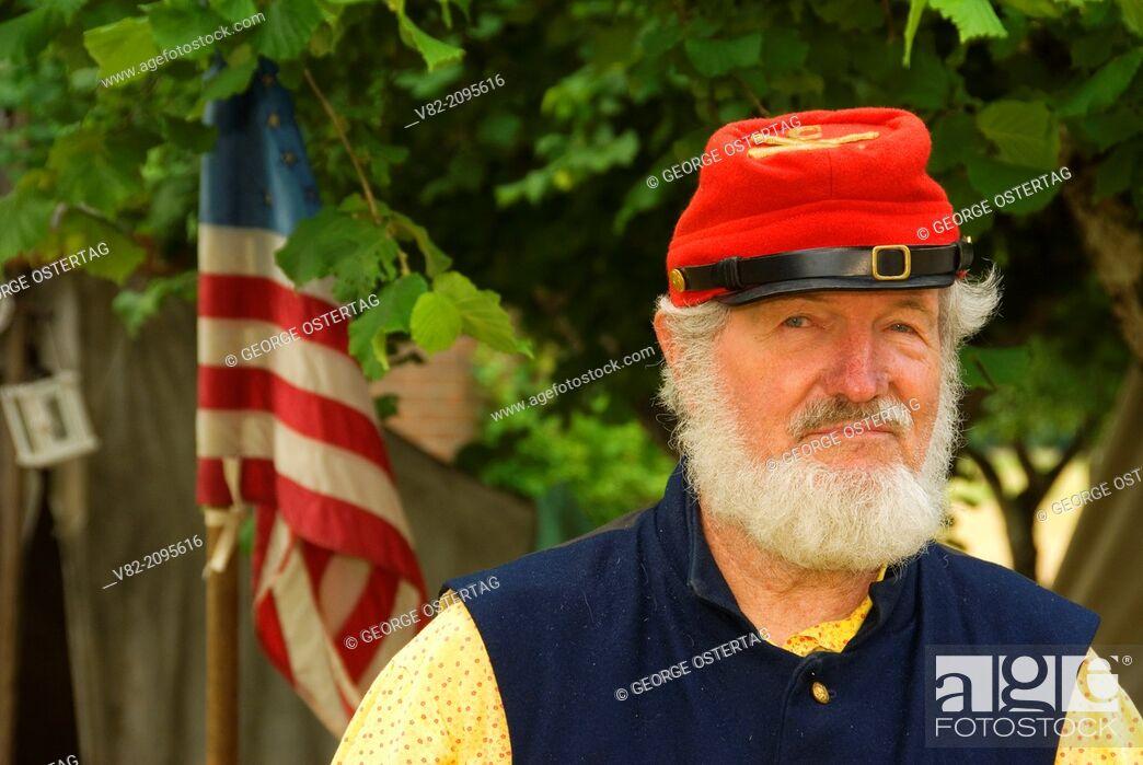 Stock Photo: Artilleryman, Civil War Re-enactment, Willamette Mission State Park, Oregon.