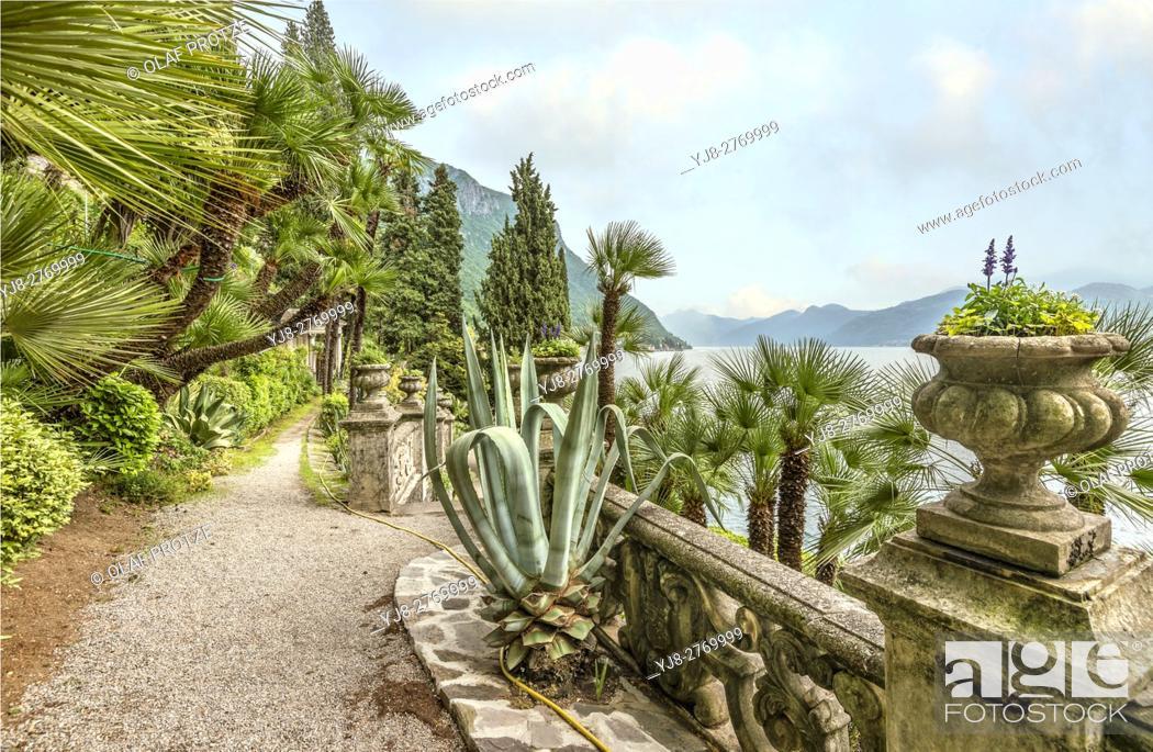 Stock Photo: Botanic Garden of Villa Monastero, Varenna, Lombardy, Italy.