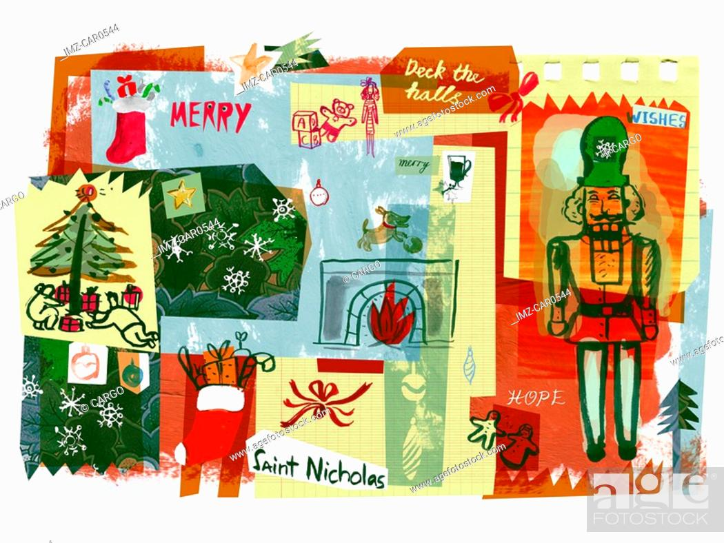 Stock Photo: A Christmas collage of a nutcracker,Christmas gifts,stockings and trees.