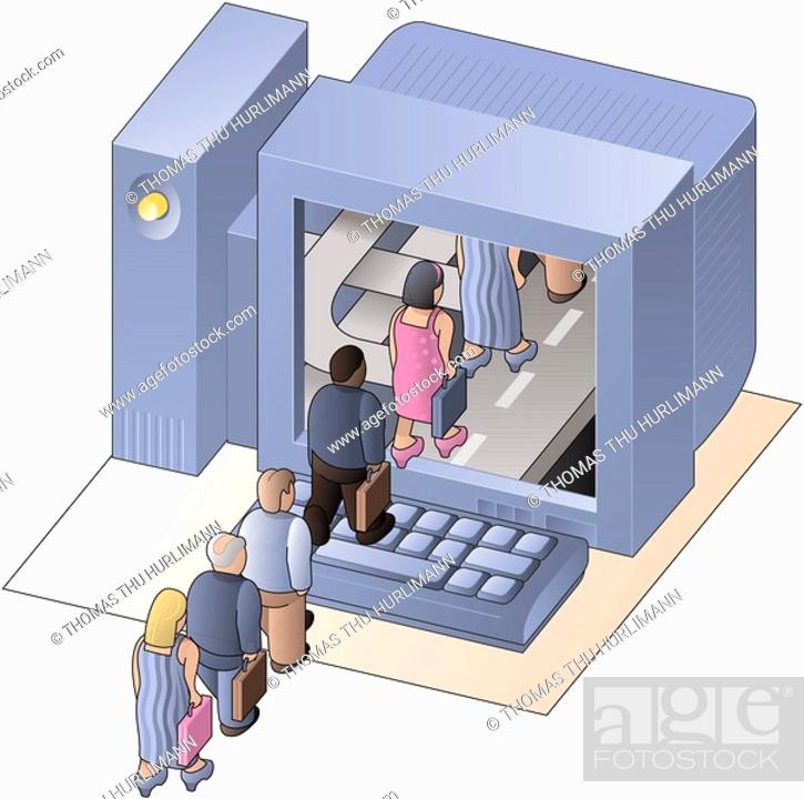 Stock Photo: People walking into a computer screen.