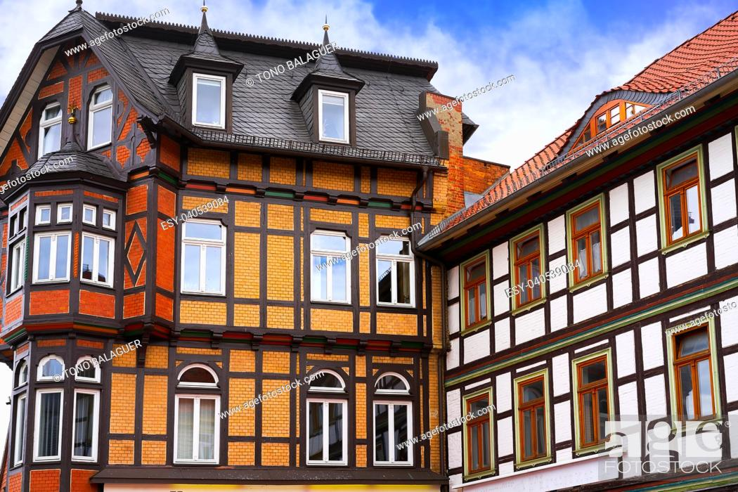Stock Photo: Wernigerode facades in Harz Germany at Saxony Anhalt.