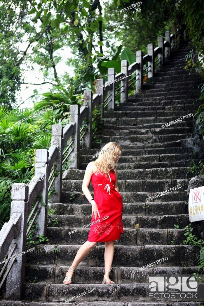 Stock Photo: Woman in Guilin, China.