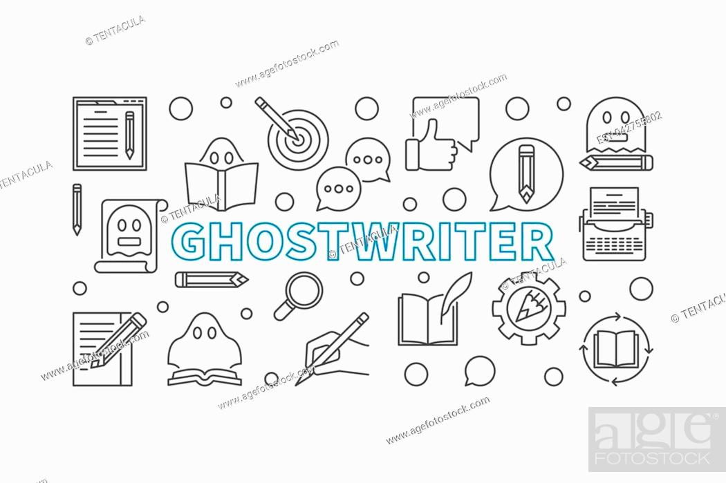 Stock Vector: Ghostwriter vector horizontal banner or illustration made with ghostwriting thin line icons on white background.