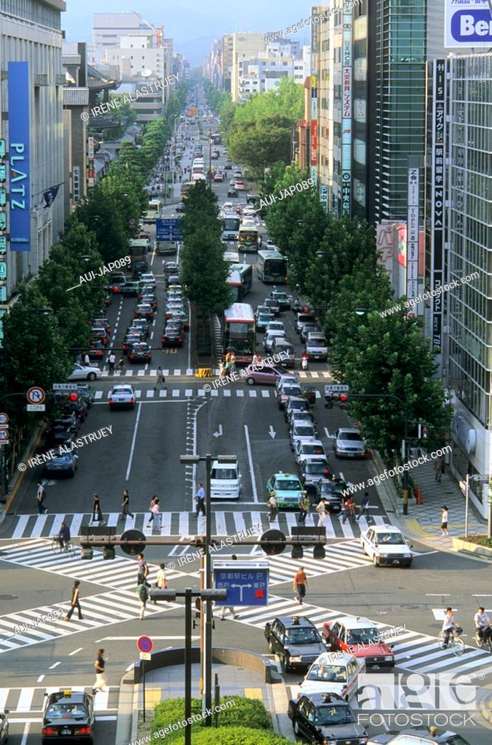 Stock Photo: Japan - Kyoto - The Railway station district - Karaura Dori Avenue.