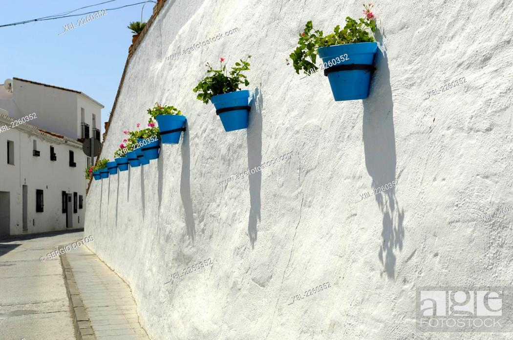 Stock Photo: Blue Pots on a street in Mijas Malaga.