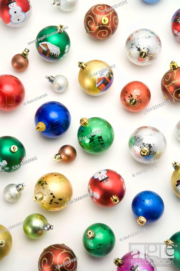 Stock Photo: Colorful Christmas baubles.