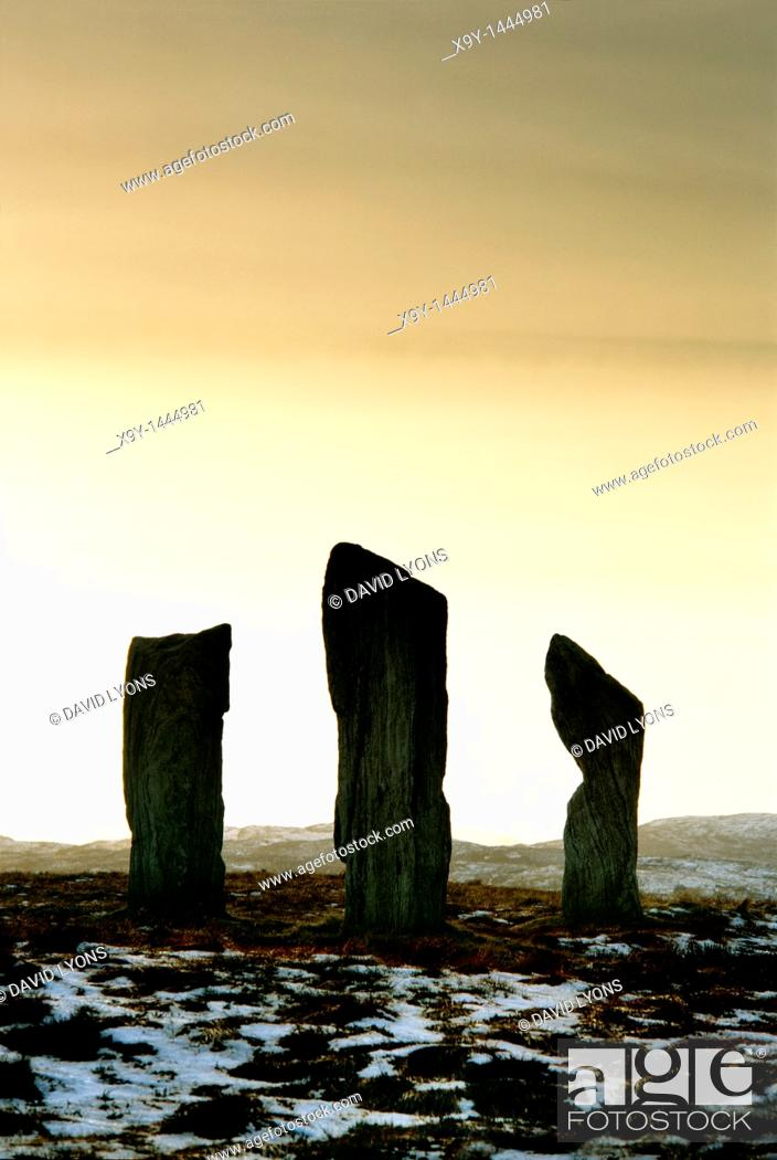 Stock Photo: Callanish prehistoric stone circle  Island of Lewis, Outer Hebrides, Scotland  Three of the 5000 year old alignment megaliths.