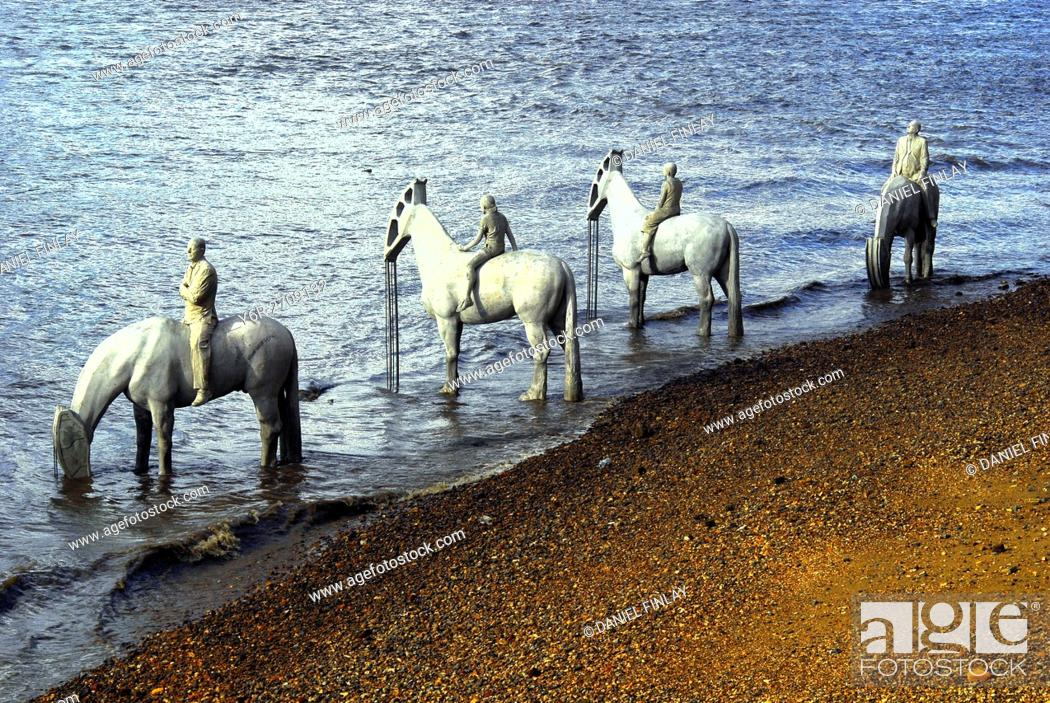 """Stock Photo: """"""""""""""""""""The Rising Tide"""""""", an art installation by James de Caires Taylor, placed in the River Thames opposite the Houses of Parliament in Summer 2015."""