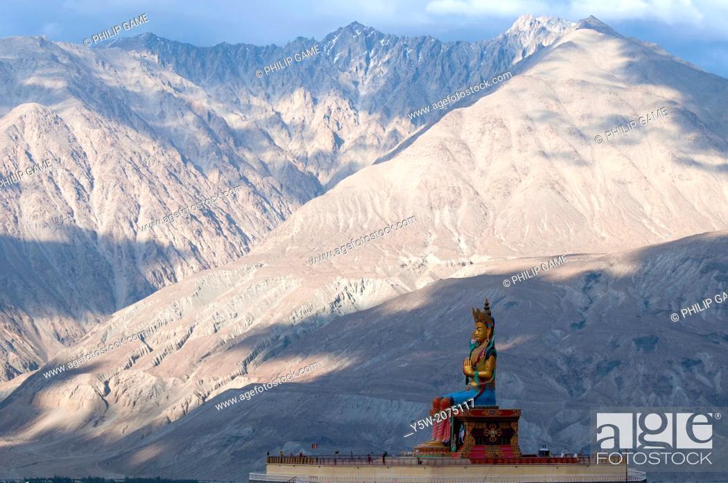 Stock Photo: Giant Maitreya Buddha statue at the Diskit Gompa in the Nubra Valley of Ladakh, northern India.