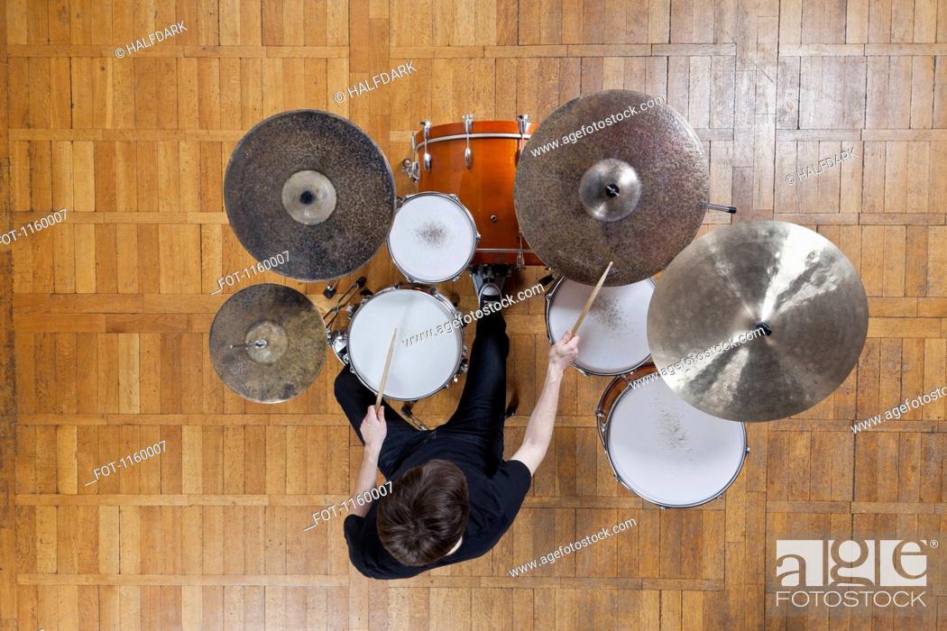 Stock Photo: Drummer playing kit.
