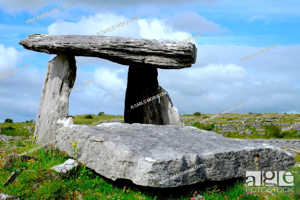 Stock Photo: Poulnabrone Dolmen, located in the Burren, County Clare, Munster, Republic of Ireland, Europe.