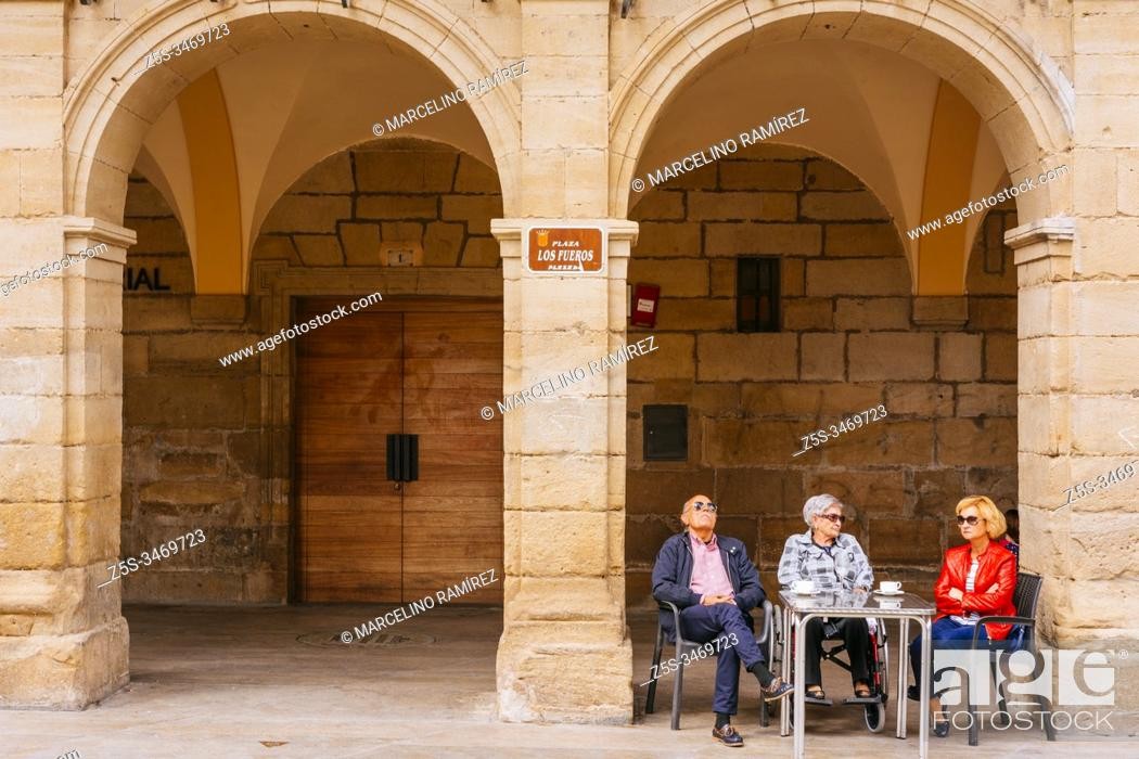 Stock Photo: Fueros Square - Plaza de los Fueros. French Way, Way of St. James. Viana, Navarre, Spain, Europe.
