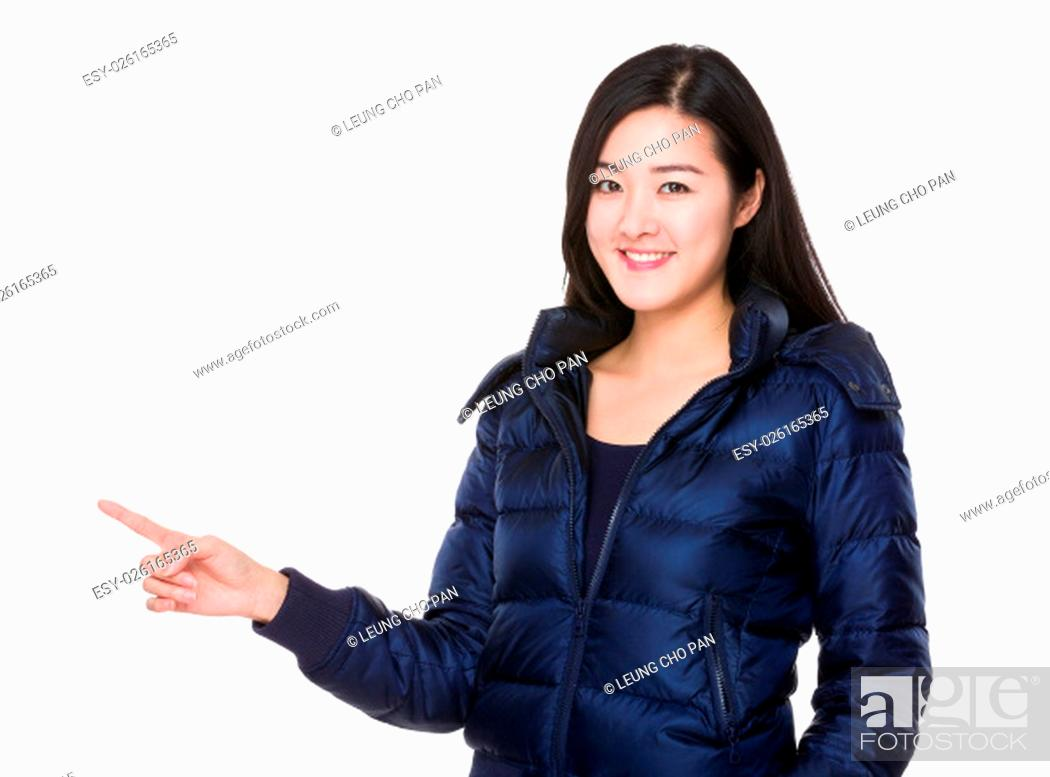 Stock Photo: Woman with finger point up.