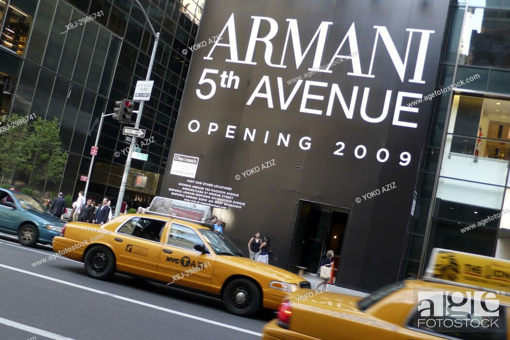 Stock Photo: Armani store on 5th Avenue in Uptown Manhattan (New York, United States of America).