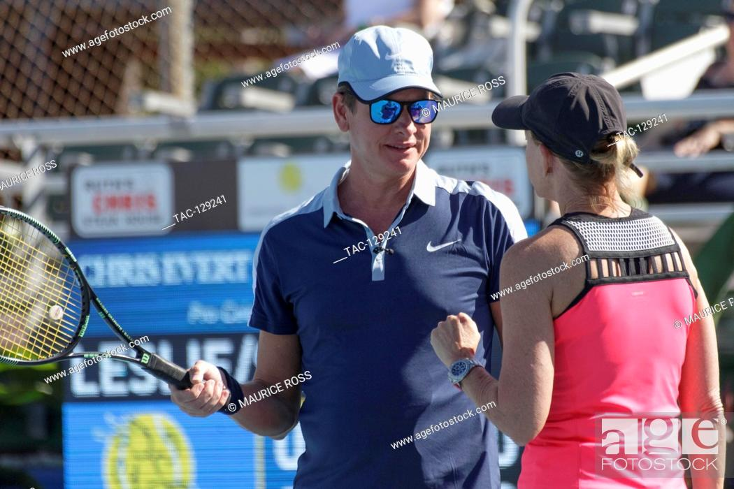 Stock Photo: Carson Kressley getting some needed tennis advice from teammate Chris Evert on November 26, 2016 at the Chris Evert Pro-Celebrity Tennis Classic at the Delray.