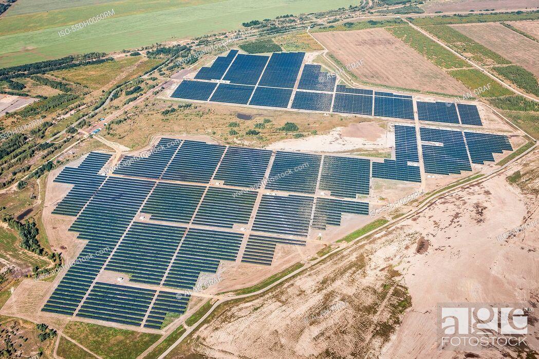 Stock Photo: Senftenberg Solarpark, photovoltaic power plant, Senftenburg, Germany.