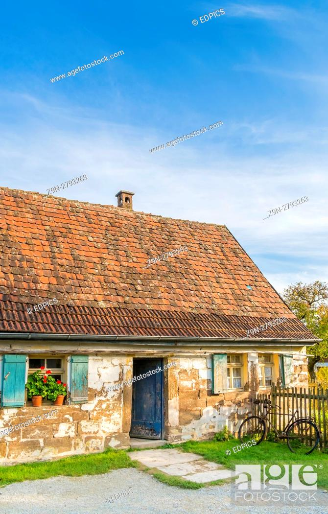 Stock Photo: historic farmhouse, open-air museum, wackershofen, schwäbisch hall, baden-wuerttemberg, germany.