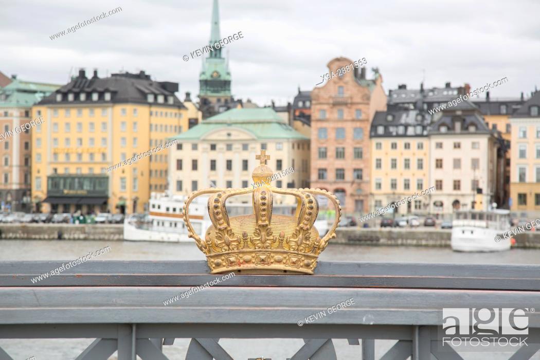 Stock Photo: Golden Crown on Skeppsholm Bridge - Skeppsholmsbron (1861); Stockholm; Sweden.
