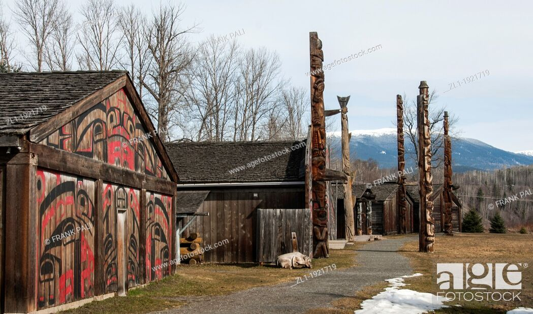Stock Photo: Ksan Historical Village and Museum Ksan is located near the ancient village of Gitanmaax, at the confluence of the Bulkley and Skeena Rivers.