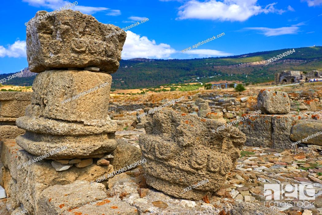 Stock Photo: Bolonia, Baelo Claudia, Archaeological site , old roman city , Strait of Gibraltar Natural Park, Costa de la Luz, Cadiz, Andalusia, Spain, Europe.