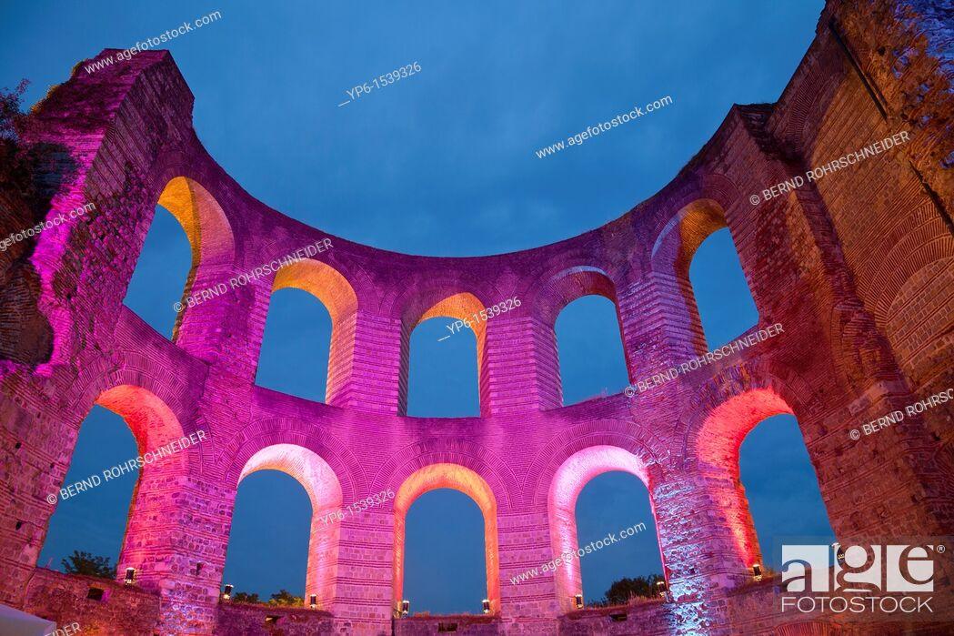 Stock Photo: Kaiserthermen, World Heritage Site, illuminated at night, Trier, Germany.