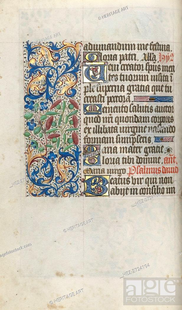 Stock Photo: Book of Hours (Use of Rouen): fol. 56v, c. 1470. Creator: Master of the Geneva Latini (French, active Rouen, 1460-80).
