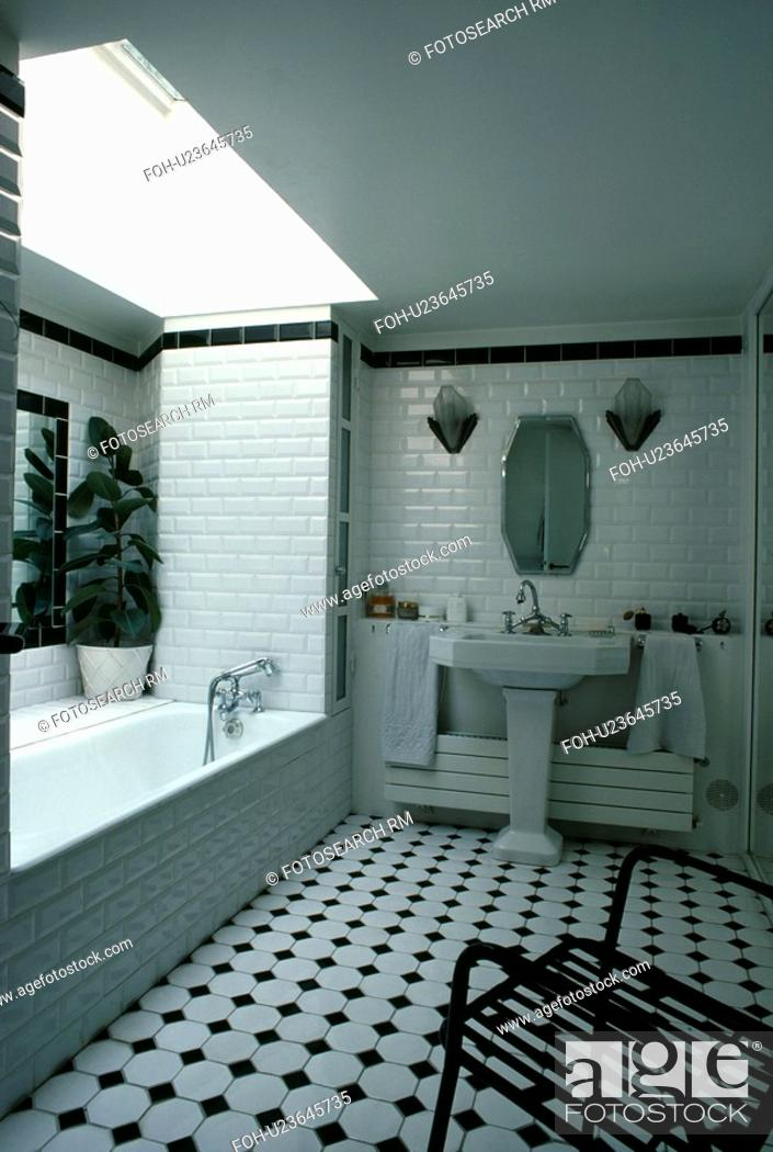 Surprising Contemporary White Tiled Bathroom With Skylight And Black Download Free Architecture Designs Jebrpmadebymaigaardcom