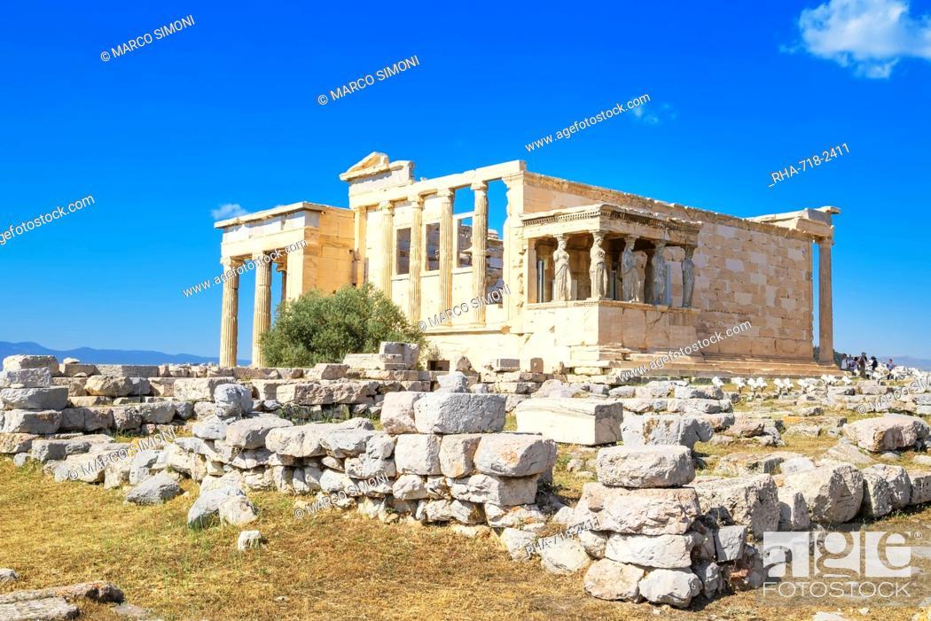 Stock Photo: Porch of Caryatids, Erechtheion Temple, Acropolis, UNESCO World Heritage Site, Athens, Greece, Europe.