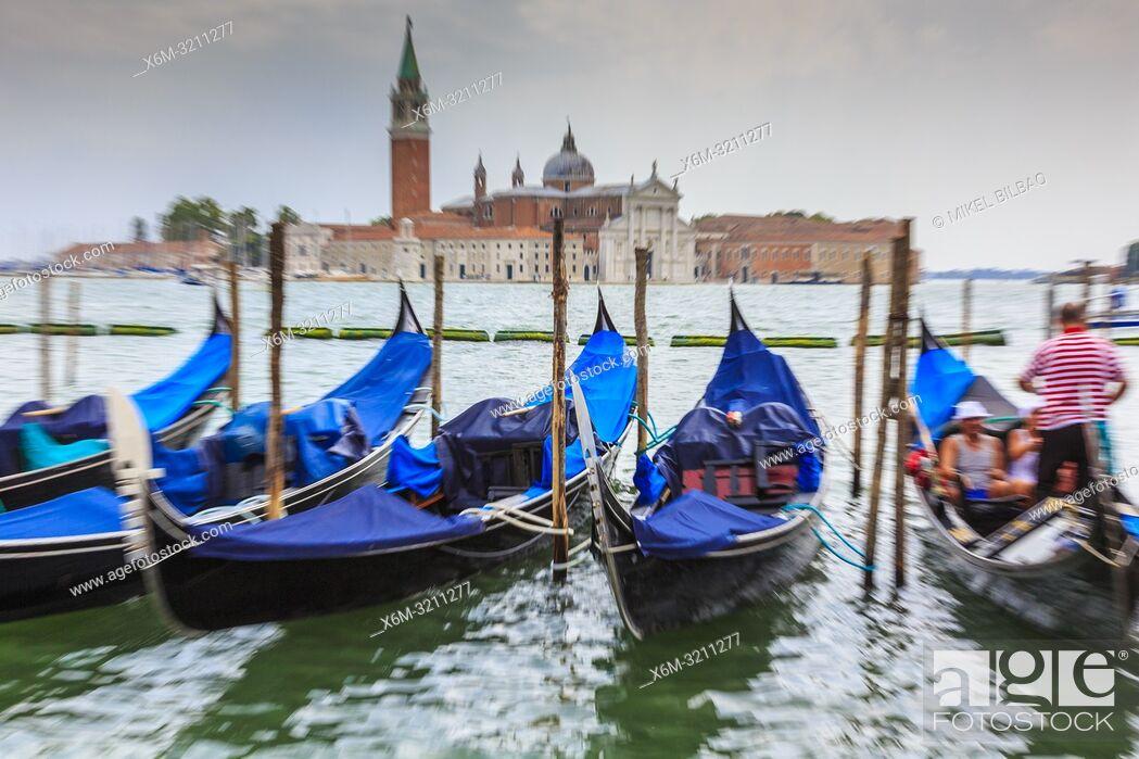 Stock Photo: Gondolas and San Giorgio Maggiore Island. . St Mark's Square. Venice, Italy. Europe.