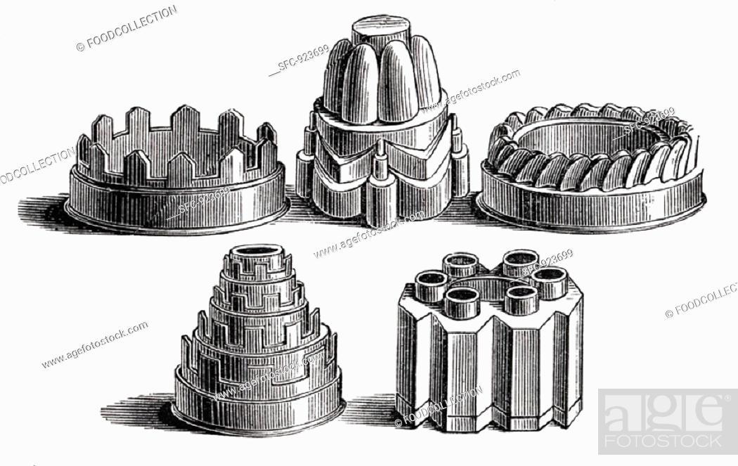 Stock Photo: Various old baking tins (illustration).