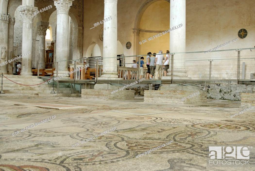 Stock Photo: Floor mosaic, St. Hermagor Basilica, Aquileia near Grado, Udine, Italy.