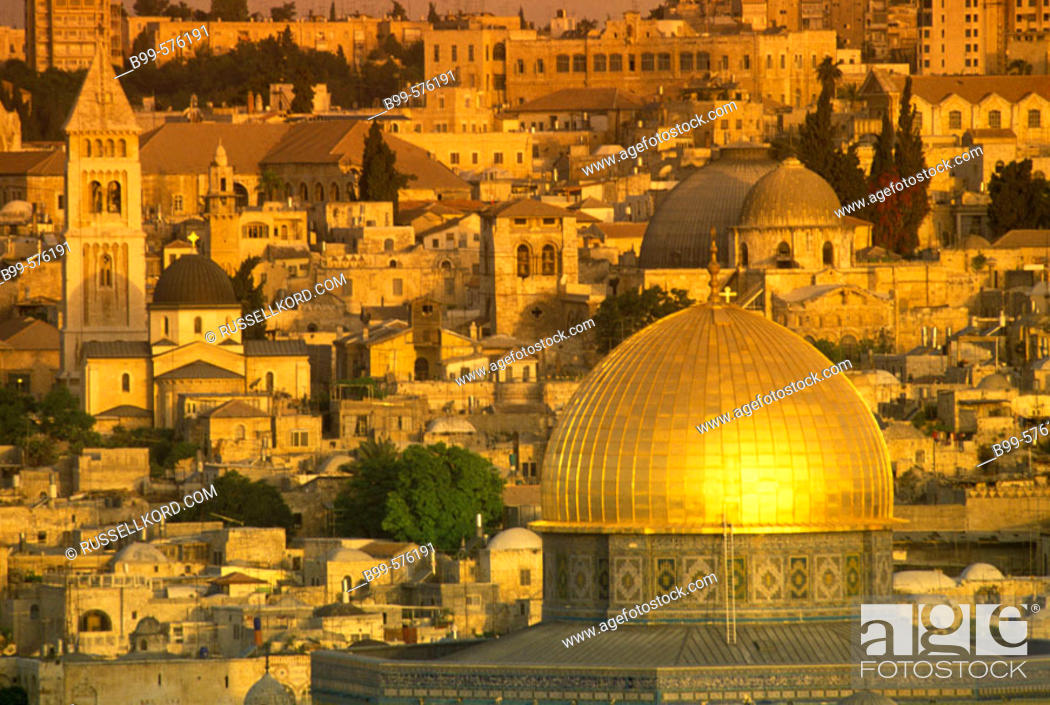 Stock Photo: Omar Mosque, Dome Of The Rock, Old City, Jerusalem, Israel.
