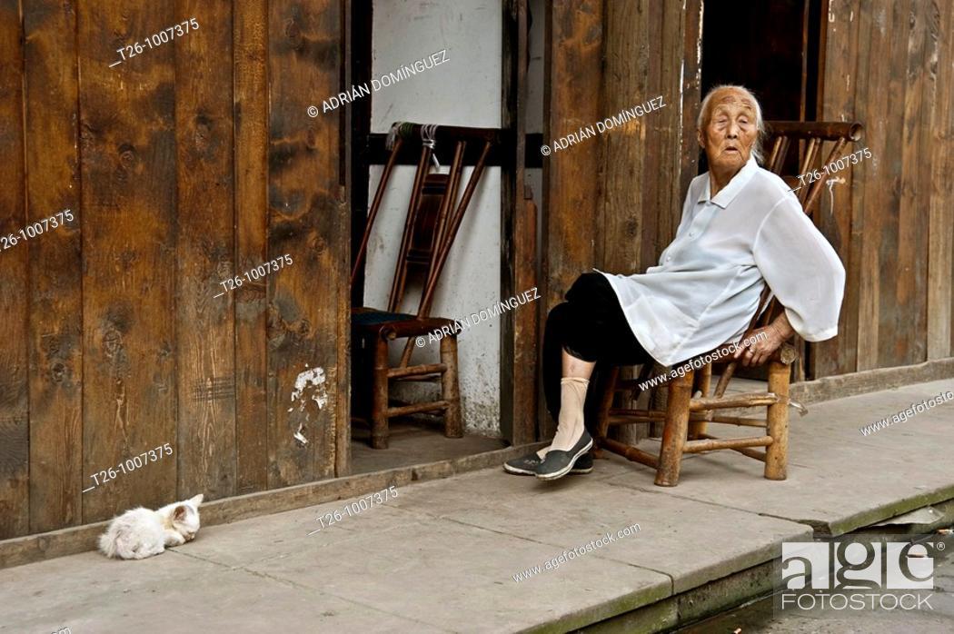 Stock Photo: An elderly woman sitting next to a kitten.