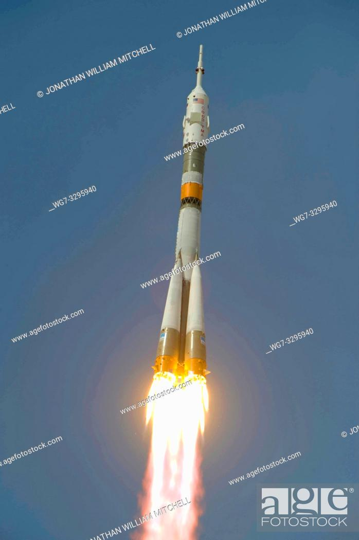 Stock Photo: KAZAKHSTAN Baikonur Cosmodrome -- 27 May 2009 -- The Soyuz TMA-15 launches from the Baikonur Cosmodrome in Kazakhstan on a mission to the International Space.