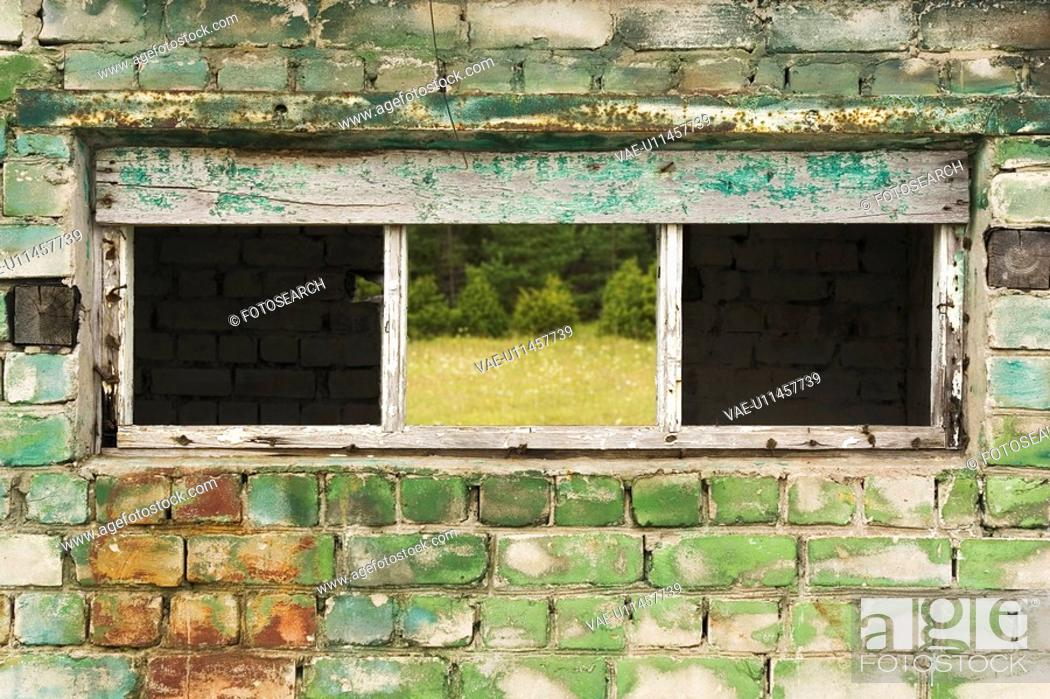 Stock Photo: Brick Wall, Close-Up, Construction, Day, Discolored.