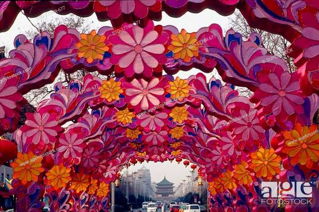 Stock Photo: China, Xian, Chinese New Year decoration.