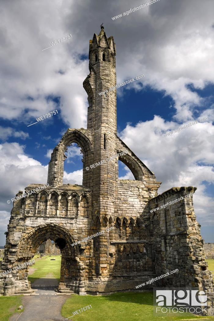 Stock Photo: Sun on stone ruins of the 14th Century West Entrance and tower of St Andrews Cathedral with clouds St Andrews Fife Scotland UK.