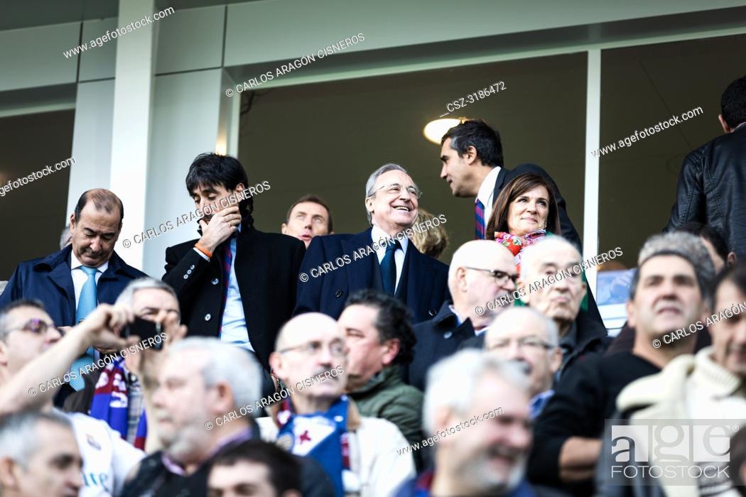Stock Photo: Florentino Perez, Real Madrid President, in the box during the La Liga match between Eibar and Real Madrid CF at Ipurua Stadium on November 24, 2018 in Eibar.