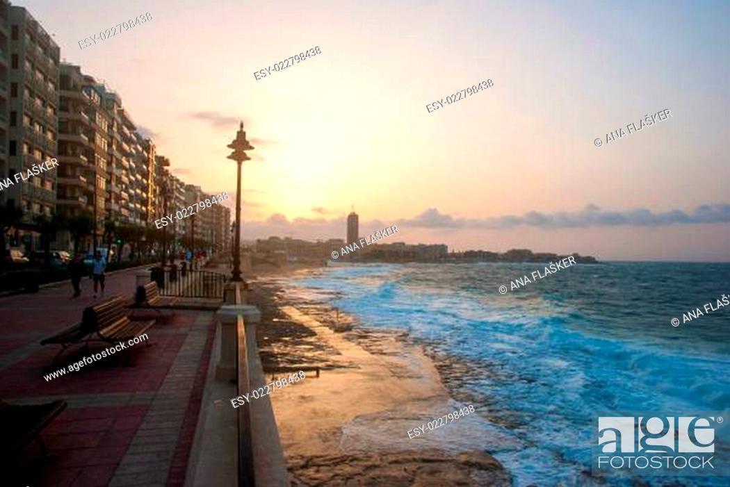 Stock Photo: Promenade of Sliema in sunset, Malta.