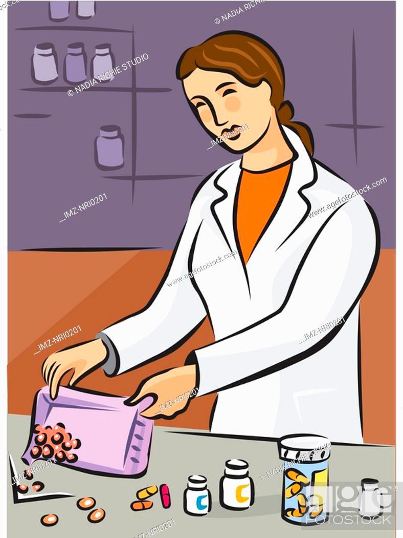Stock Photo: A pharmacist dispensing pills.