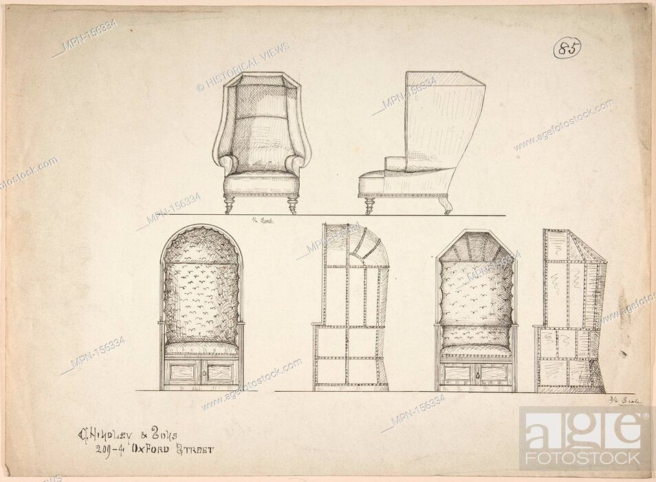 Stock Photo: Designs for Chair and Window Seats. Artist: Charles Hindley and Sons (British, London 1841-1917 London); Date: 1841-84; Medium: Pen and black ink; Dimensions:.