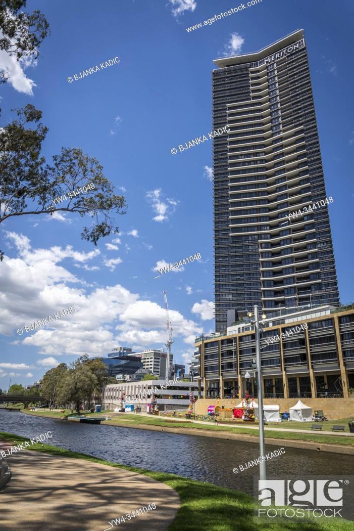 Stock Photo: Parramatta River and new housing developments along it in the western suburb of Parramatta, Sydney, Australia.