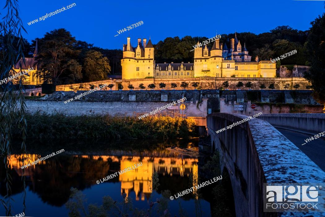 Stock Photo: Sleeping Beauty Castle of Usse at Dusk, Overlooking the Indre River, with its Gardens Designed by Le Nôtre. Rigny-Usse, Chinon District, Indre-et-Loire.