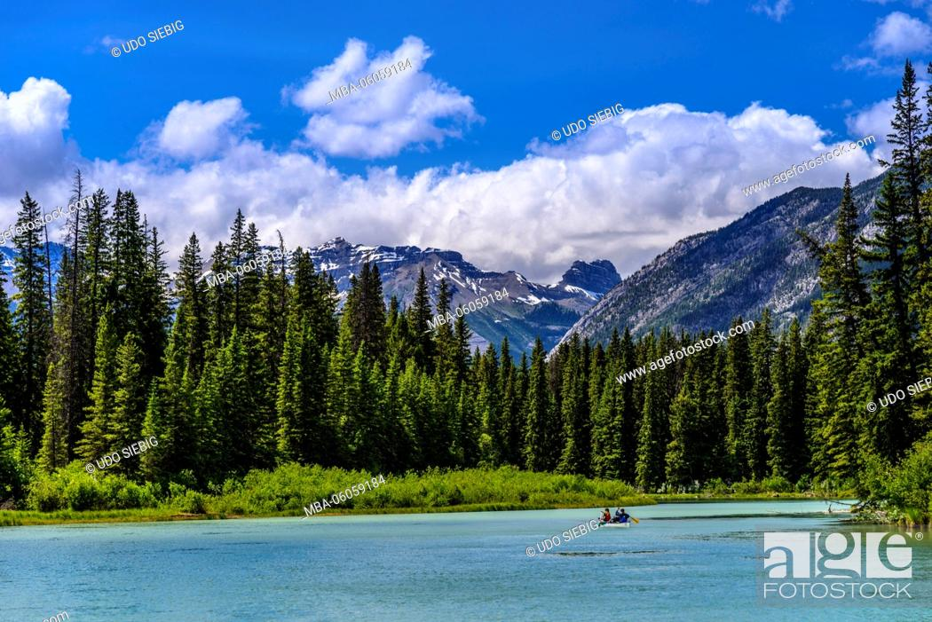Stock Photo: Canada, Alberta, Banff National Park, Banff, Bow River Valley to Mount Bourgeau, View from the Sundance Trail.