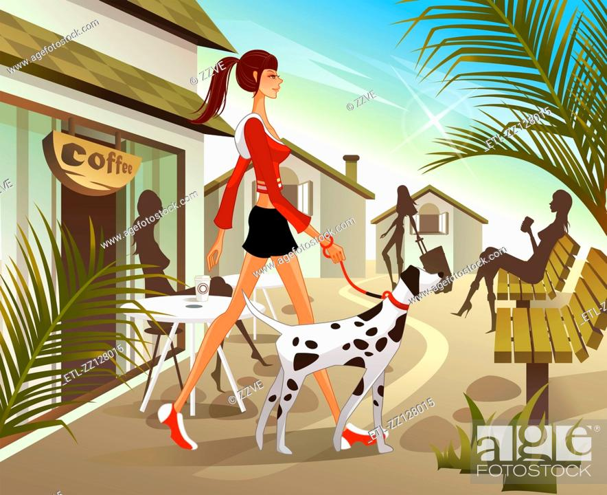 Stock Photo: Woman walking with dog with cafe in background.